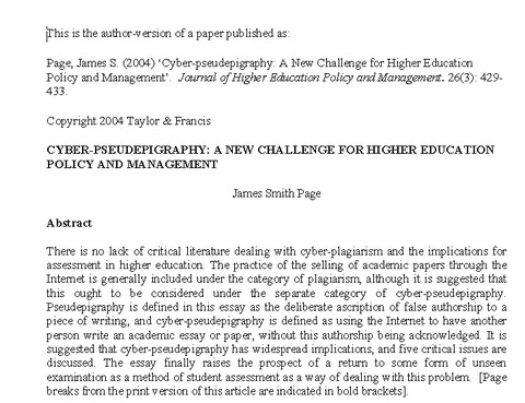 Cyber-pseudepigraphy: A New Challenge for Higher Education Policy and Management