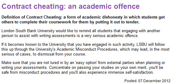 Contract Cheating An Academic Offence London South Bank