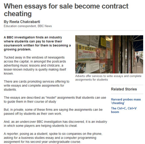 When Essays For Sale Become Contract Cheating BBC News